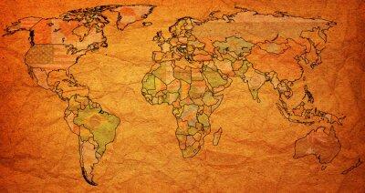 Quadro territorio ungheria sulla mappa del mondo