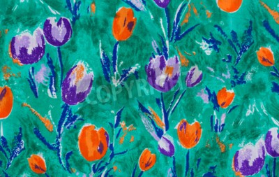 Quadro tessuto della stampa del tulipano vicino sfondo.