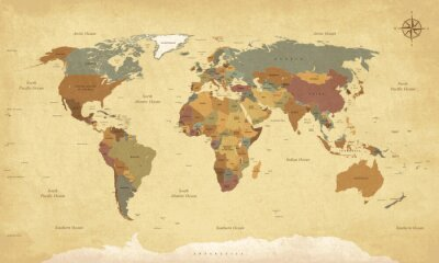 Quadro Tessuto mappa del mondo vintage - Etichette English / USA - Vector CMYK