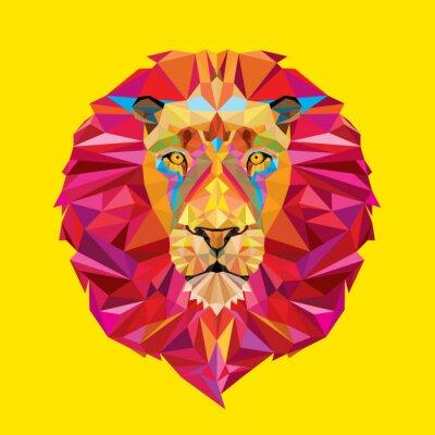 Quadro Testa di leone in disegno geometrico
