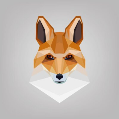 Quadro Testa poligonale geometrica è volpi. Logo design.
