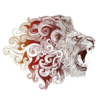 Quadro testa tatuaggio sorridendo leone