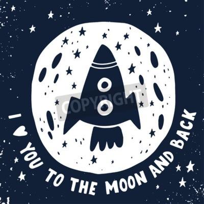 Quadro Ti amo fino alla luna e ritorno.