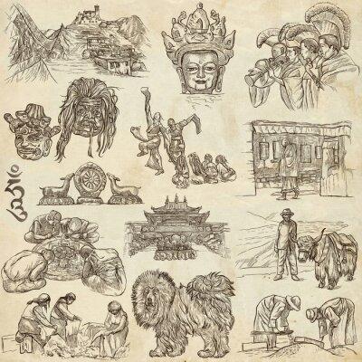 Quadro Tibet. Viaggio - Immagini di vita. disegni a mano.