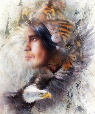 Quadro tigre con guerriero aquila e indiano e l'illustrazione copricapo. animali selvatici sulla pittura sfondo, Contatto con gli occhi, bianco, colore nero e marrone