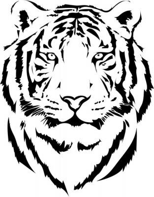 Quadro tigre testa di interpretazione nero 2