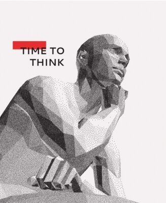 Quadro Time to think. A man with his hand on his chin as though he was thinking. Artificial intelligence concept. Searching for answers. Your personal assistent. 3D vector illustration.
