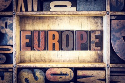 Quadro Tipo Europa Concetto Letterpress