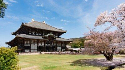 Quadro Todaiji Temple in stagione sakura a Nara, Giappone