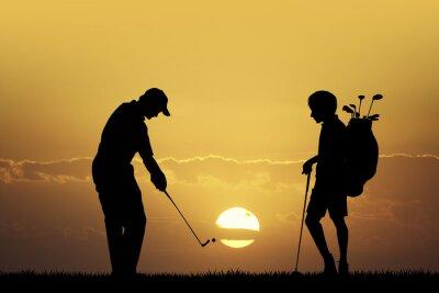 Quadro Torneo di golf al tramonto