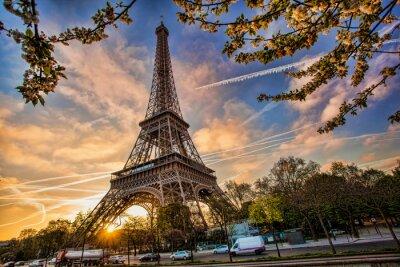 Quadro Torre Eiffel contro alba in Parigi, Francia