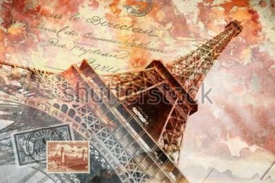 Quadro Torre Eiffel Parigi, arte digitale astratta, cartolina
