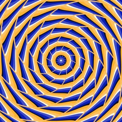 Quadro torsione a spirale al centro. Abstract vettore illusione ottica di fondo.