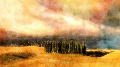 Quadro Toscana acquerello paesaggio.