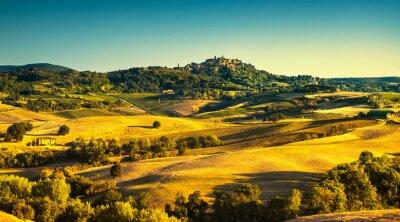 Quadro Toscana estate, borgo medievale di Montepulciano. Siena, Italia