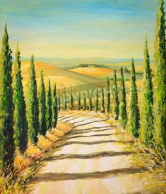 Quadro Toscana: paesaggio rurale con strada, campi e colline.Picture creato con colori acrilici.