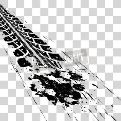 Quadro Tracce di pneumatici. Illustrazione vettoriale onon sfondo a scacchi