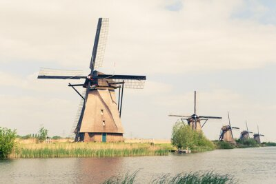 Quadro traditional windmills in Netherlands