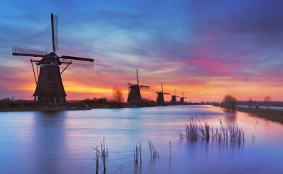 Quadro tradizionali mulini a vento a sunrise, Kinderdijk, Paesi Bassi