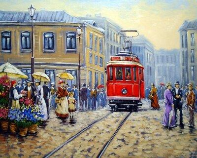Quadro Tram in città vecchia, paesaggio dipinti a olio