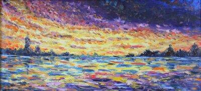 Quadro tramonto sul lago, pittura ad olio