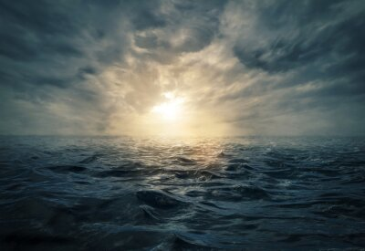 Quadro Tramonto sul mare in tempesta