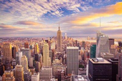 Quadro Tramonto vista di New York City che osserva sopra Manhattan