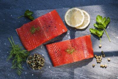 Quadro tranci di salmone selvatico