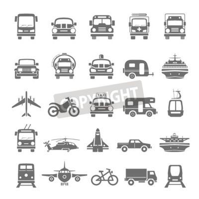 Quadro Trasporto di icone nere
