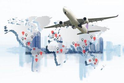 Quadro Trasporto, import-export e logistica, camion container, nave in porto e aereo cargo nel trasporto e logistica commerciale import-export