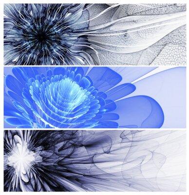 Quadro Tre baners fiori astratti