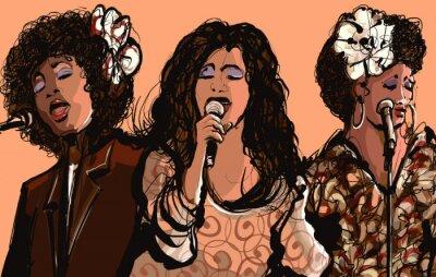 Quadro Tre donne cantanti jazz