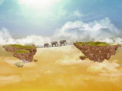 Quadro Tre elefanti. Illustrazione.