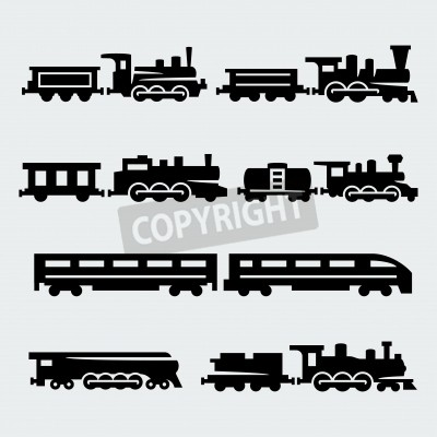 Quadro treni silhouettes set
