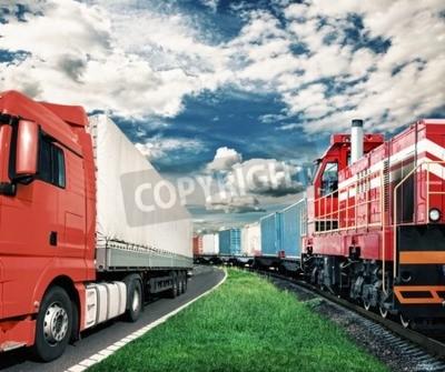 Quadro treno merci e camion come concetto di trasporto