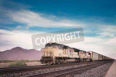 Quadro Treno merci in esecuzione in viaggio deserto dell'Arizona