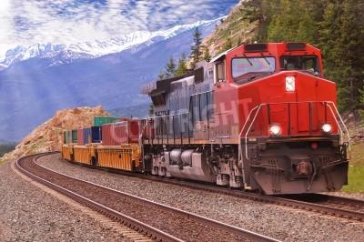Quadro Treno merci in Montagne Rocciose canadesi