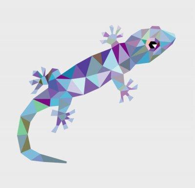 Quadro Triangolo Gecko basso poligono vettore