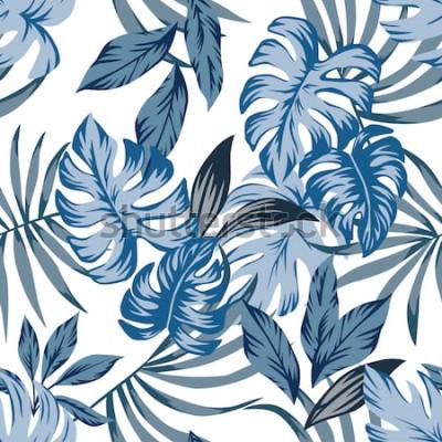 Quadro Tropico esotico foglie di palma modello vettoriale senza soluzione di continuità in uno stile vintage blu alla moda. Stampa l'illustrazione di modo della natura che dipinge la carta da parati flor