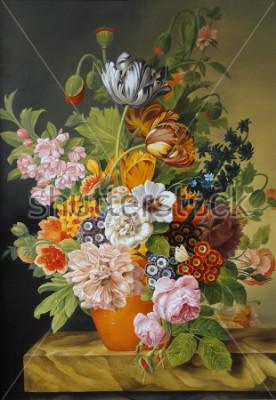 Quadro Tulipani e rose in un vecchio vaso. Papaveri, violette, camomilla, margherite. Pittura. Natura morta.