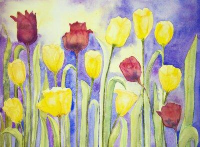 Quadro Tulipani gialli e rossi su un lilla e giallo. La tecnica tamponando vicino ai bordi dà un effetto soft focus dovuto alla rugosità superficiale alterata della carta.