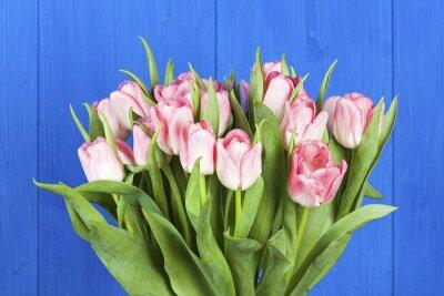 Quadro tulipani rosa bouquet primo piano