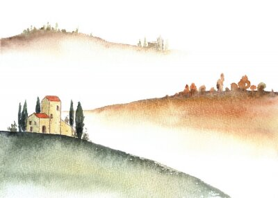 Quadro Tuscan villa and distant hills landscape watercolor painting.