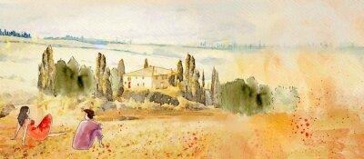 Quadro Tuscany, romantic date. Watercolor
