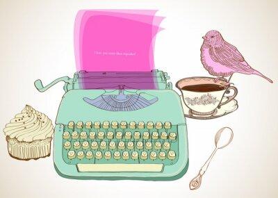 Quadro typewriter retrò sfondo