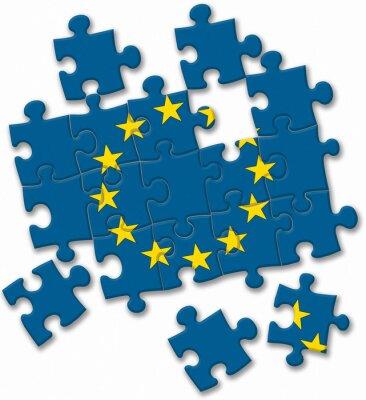 Quadro UE Unione europea di puzzle bandiera su sfondo bianco