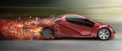 Quadro un'auto in corsa disintegrazione