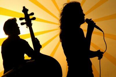Quadro un cantante e uno stand up di base silhouette