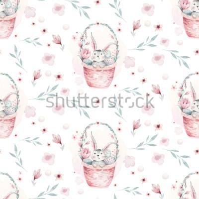 Quadro Un'illustrazione della sorgente dell'acquerello del coniglietto sveglio del bambino di pasqua. Modello senza cuciture animale del fumetto del coniglio con il canestro