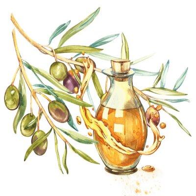 Quadro Un ramo di olive verdi mature è succoso versato con olio. Gocce e spruzzi di olio d'oliva. Acquerello e illustrazione botanica isolato su sfondo bianco.